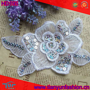 White Beautiful Design Fancy Sequins Flower Lace