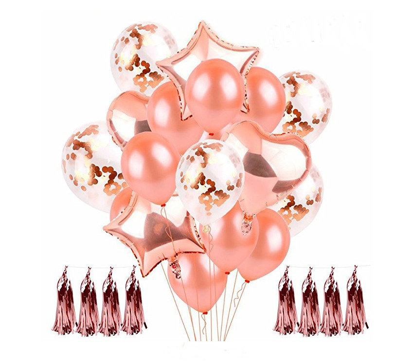 Rose Gold Ballon Set 18 ''Hart en Ster Folie Ballon Rose Goud Folie Kwastje 12'' Rose goud Confetti latex ballon