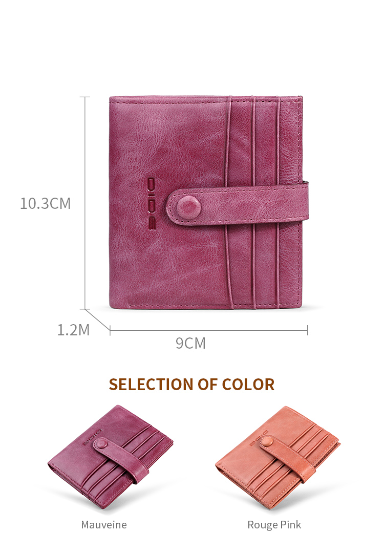 DIDE Card Holder Purse Ladies Genuine Leather Wallet Carteras Mujeres With Fashion Design Wholesale