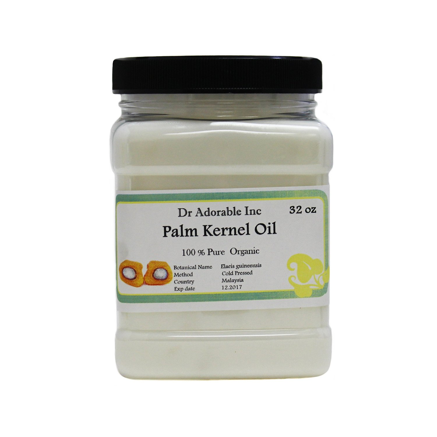 Palm Kernel Oil Pure Cold Pressed Organic 32 Oz / 1 Quart