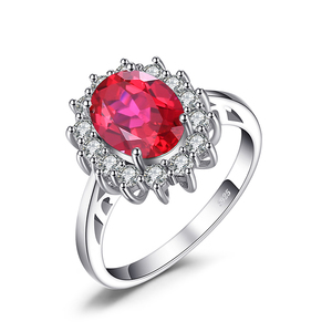 Princess Diana William Kate Middleton's Ring Wedding Ring 3.2ct Created Red Ruby Engagement Ring From JewelryPalace