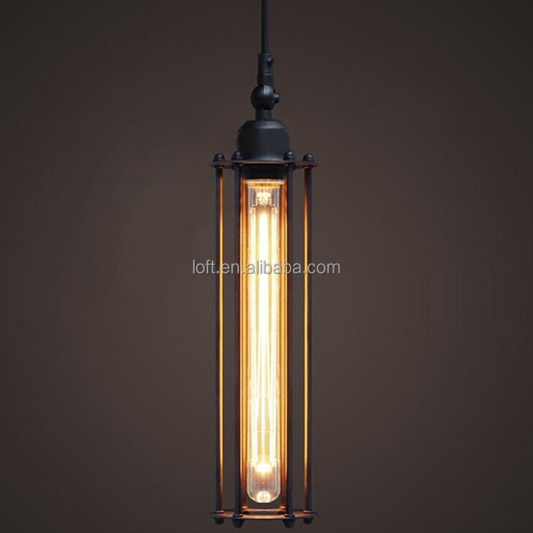 Industrial Black Long Cylindrical Pendant Lamp Classics