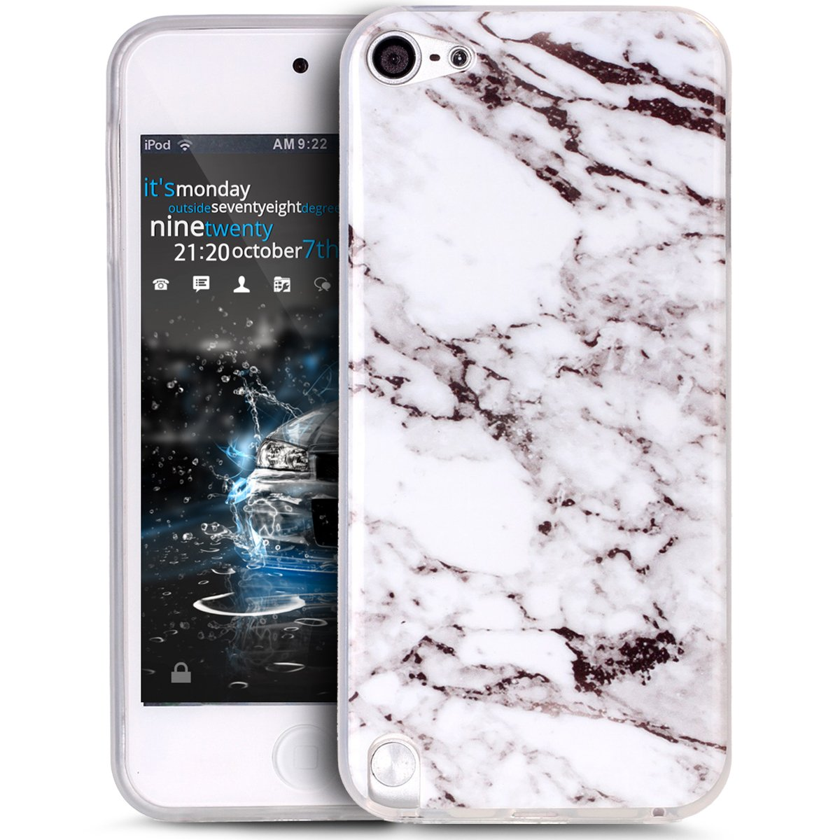iPod Touch 6 Case,iPod Touch 5 Case,ikasus iPod Touch 5/6 case Marble,Glossy Marble Texture Ultra Slim Thin Flexible Soft Silicone TPU Bumper Rubber Protective Case for iPod Touch 6 / 5, White Black