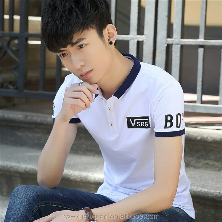 2016 Hot selling men fashion printing polo t-shirt
