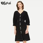 Fashion Classic Woman Clothes Girls Knee-Length Casual Black Dress