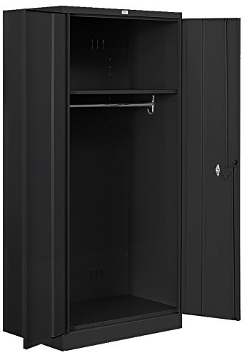 Salsbury Industries Heavy Duty Assembled Wardrobe Storage Cabinet, 78-Inch High by 24-Inch Deep, Black