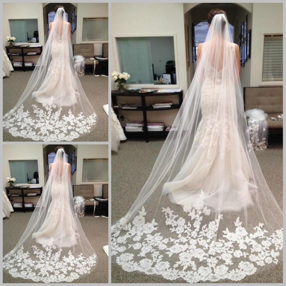 Wedding Gown Veil: Hot Sale 2015 Fast Delivery Wedding Veils Long Elegent