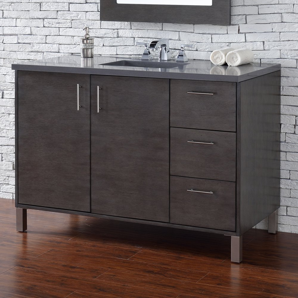 James Martin Furniture 802021 48 in. Single Vanity with 4 cm. Carrara White Marble Top