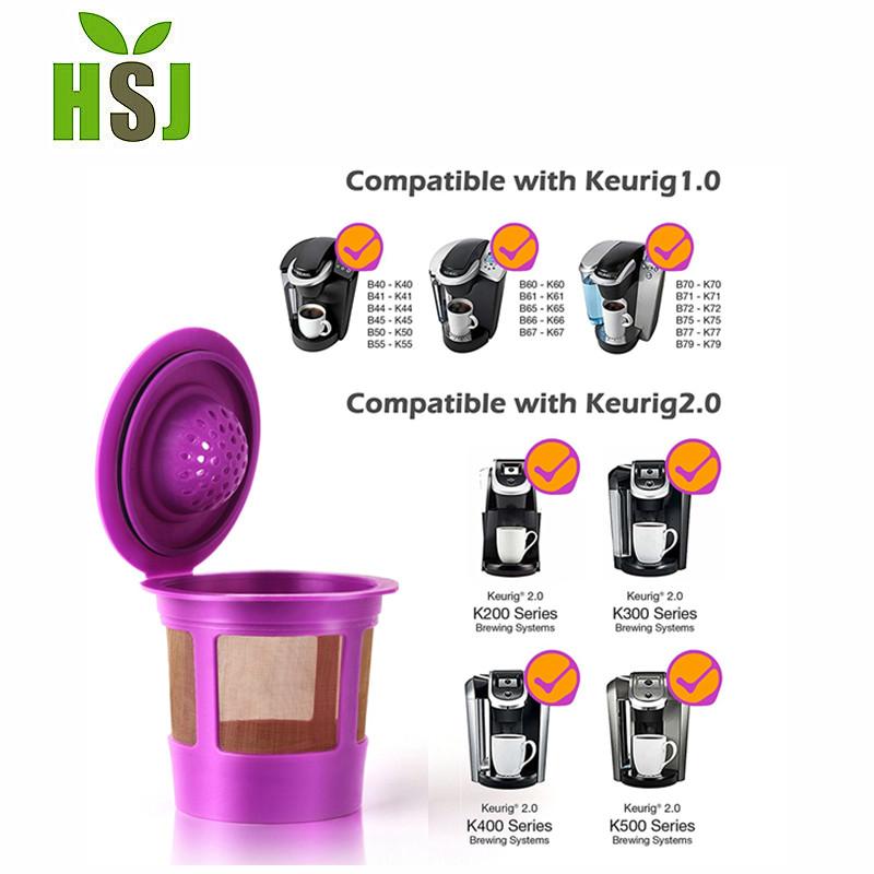 Rechargeable Réutilisable Filtre à café Pod Pour Keurig 2.0 1.0 café violet