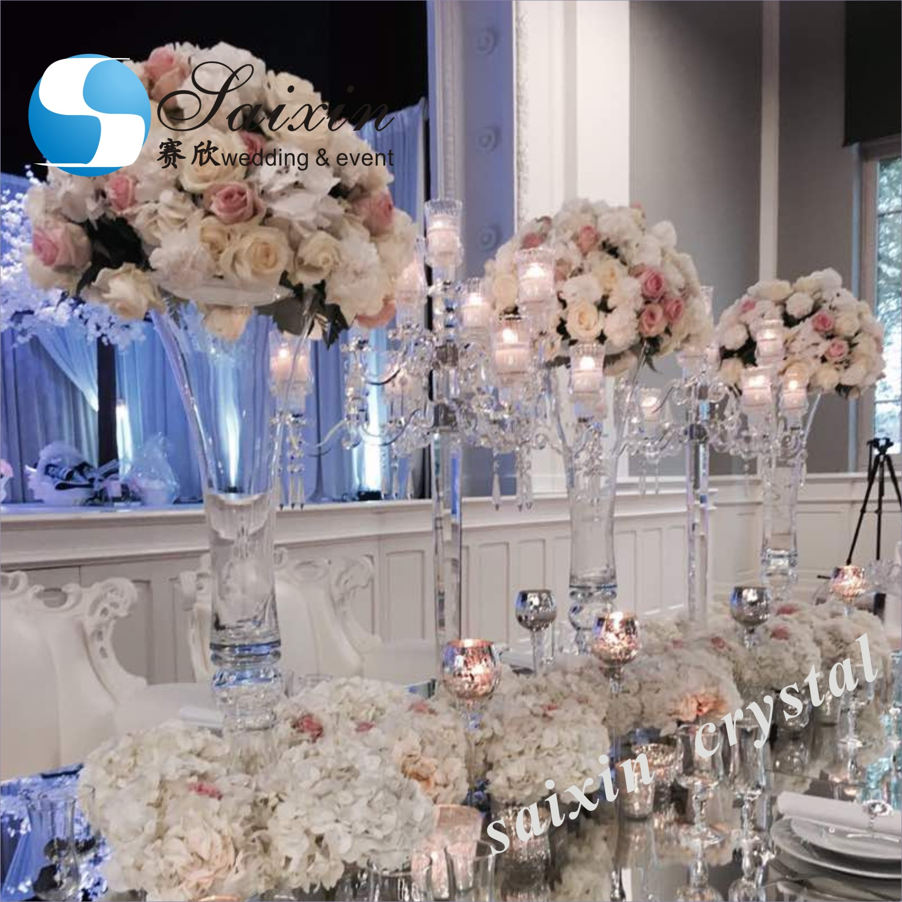 Wholesale Cheap Horn Shape Tall Glass Vase For Wedding