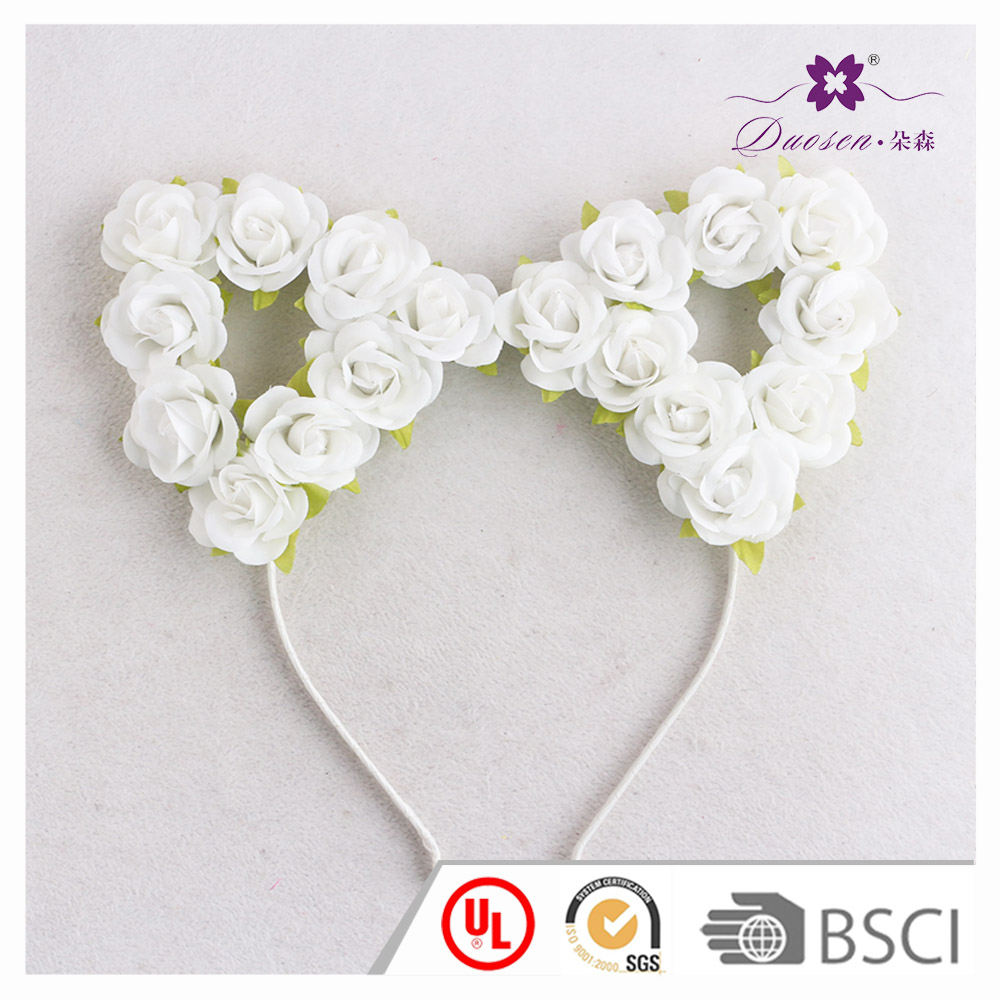 Popular Design Lovely Cat Ears White Roses Headband for Party Decoration