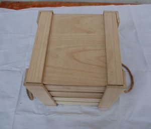 Six loaded wooden wine boxes