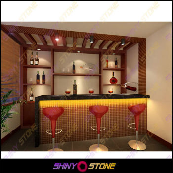 Smart Modern Home Wine Bar Design Lighting Krion Solid Surface Color Changing Led Counter