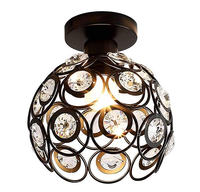 Retro Metal Cage E26 Bulbs Crystal Ceiling Lamp Light Fixture for Living Room Bedroom Bathroom