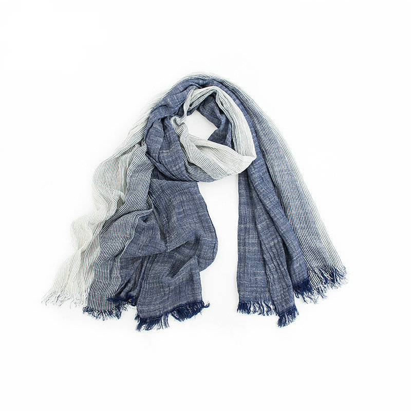 Superseptember Wholesale woven yarn dyed 100 cotton fashion winter scarves women men crinkle scarf