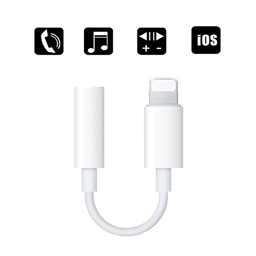 Lightning to 3.5 mm Headphone Jack Adapter, ZENVAN Connector for iPhone X/iPhone 8/8 plus/iPhone 7/7 plus/iPod Touch/iPad, Support Music Control & Calling Function (iOS 10.3 or Later)