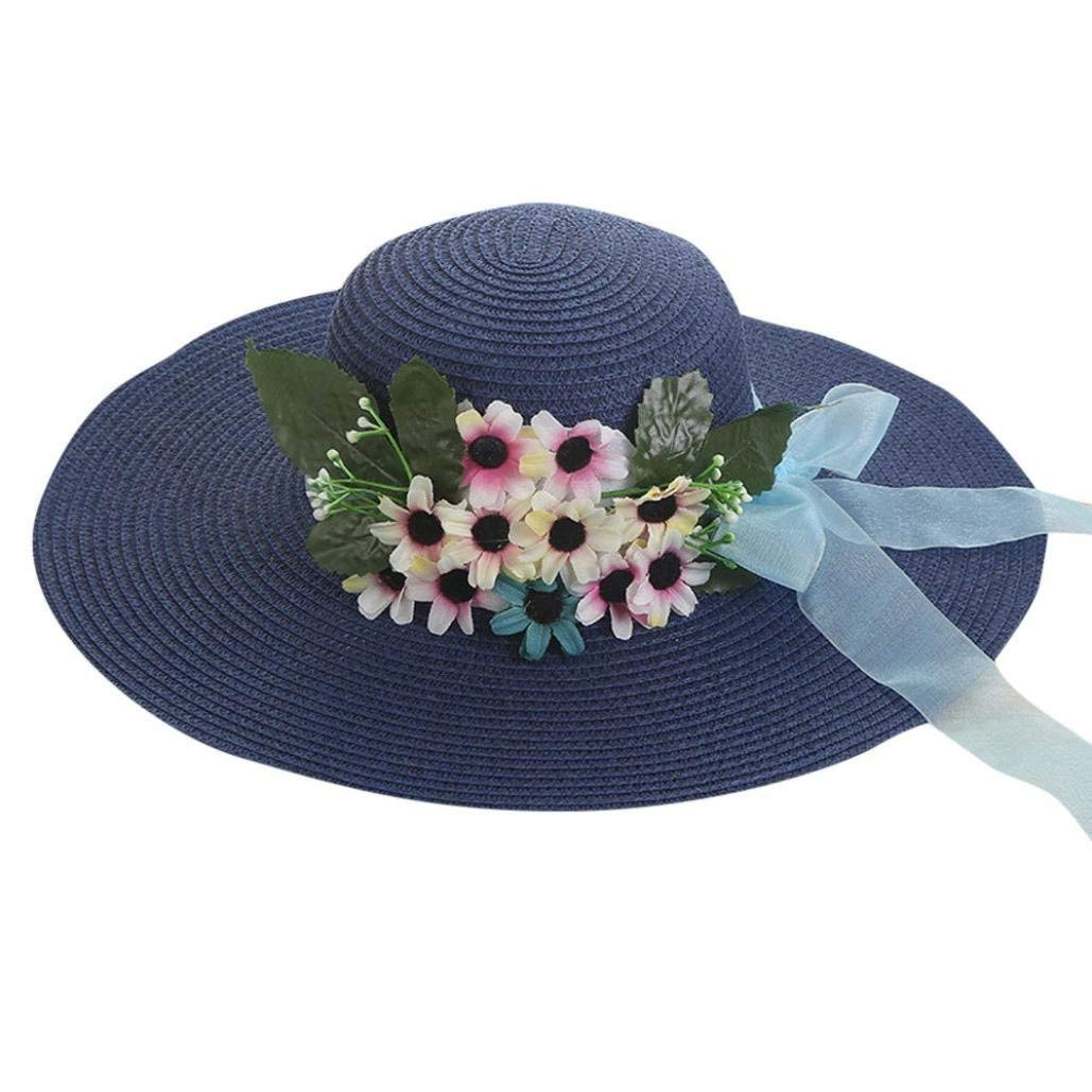 d985e835 Get Quotations · CSSD Women Beach Straw Hats Vacation Leisure Jazz Visor  Panama Style Flower Decoration Gangster Caps Top