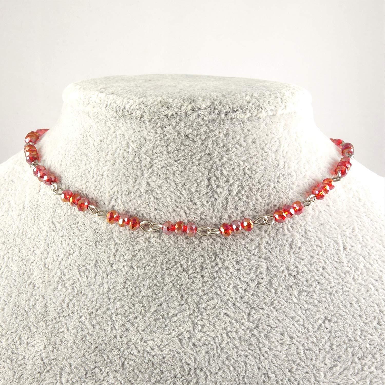 Women/'s Necklace Handmade Beaded Choker Memory Wire Choker Ohm Beaded Choker