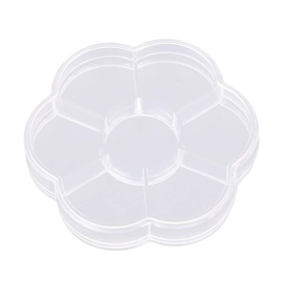 MagiDeal Flower Shaped Plastic 7 Slots Adjustable Jewelry Storage Box Case Organizer