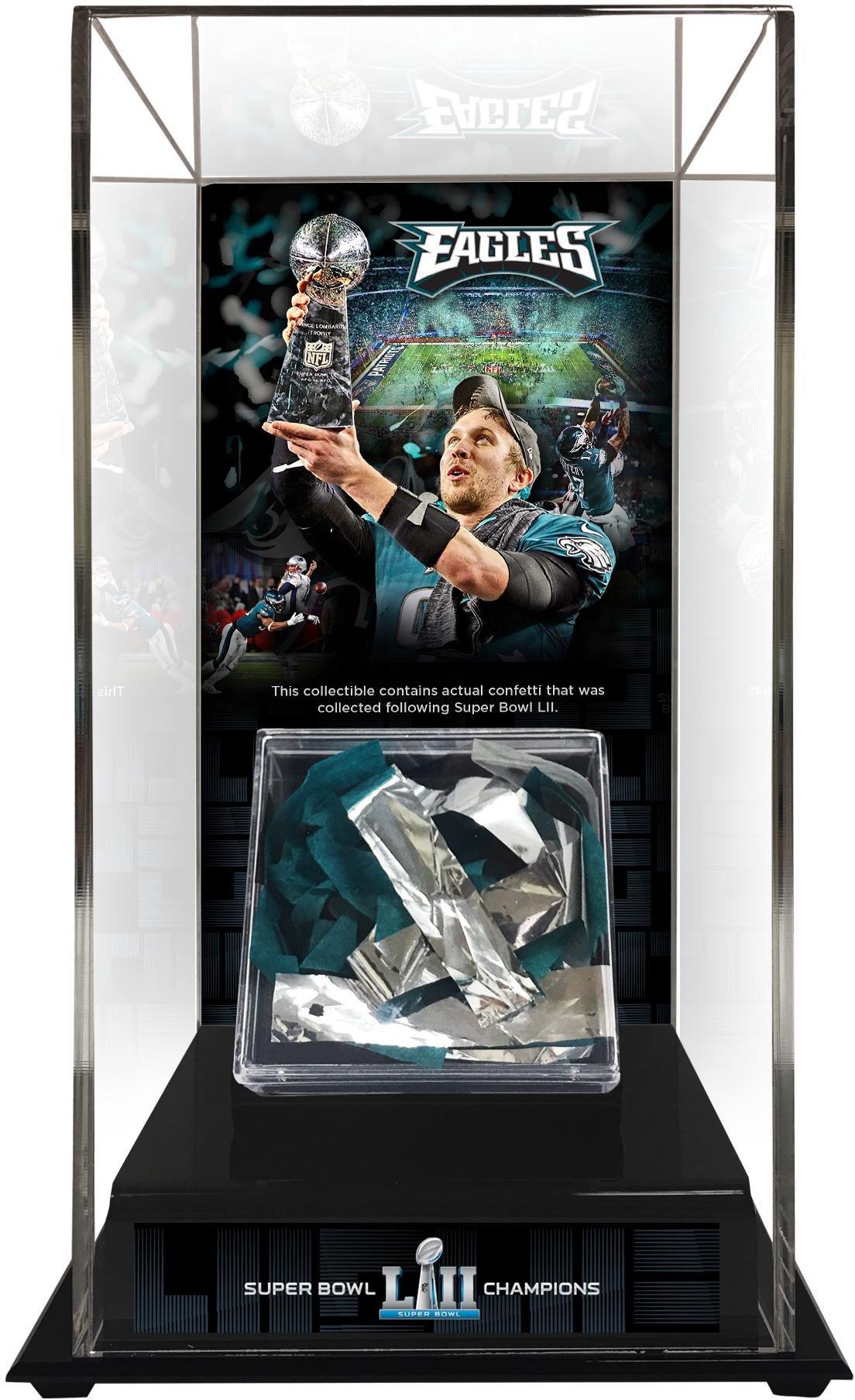 30ae6d8b13e Get Quotations · Sports Memorabilia Philadelphia Eagles Super Bowl LII  Champions Tall Display Case with Game-Used Confetti