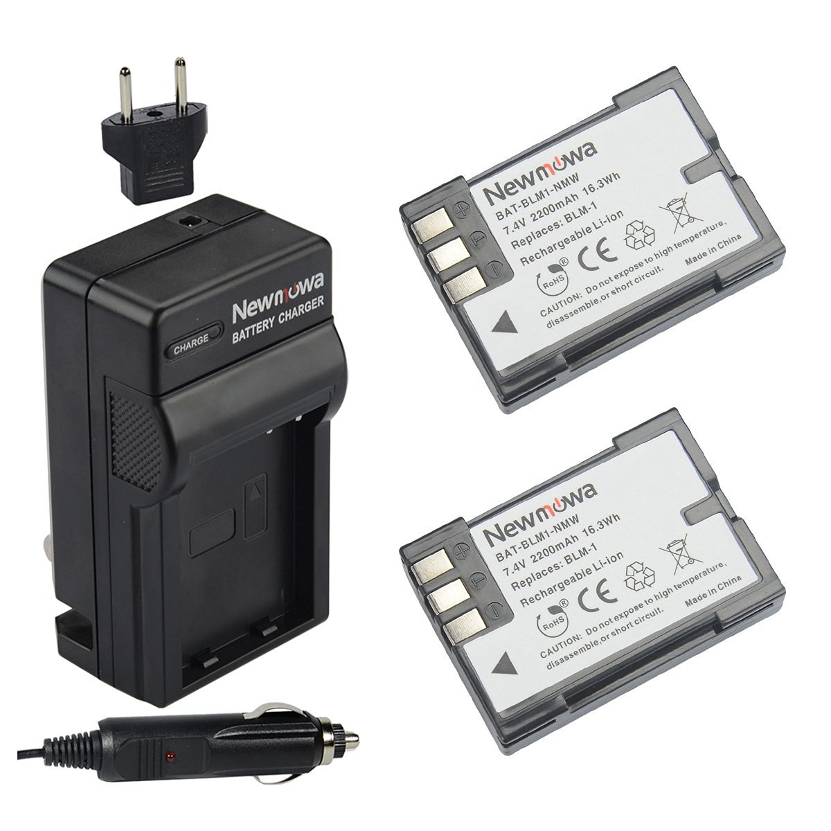 Newmowa BLM-1 Battery (2-Pack) and Charger kit for Olympus EVOLT E-300 E-330 E-500 E-510 C-5060 C-7070 C-8080 E-1 E-3 E-30 E-520 as BLM-1