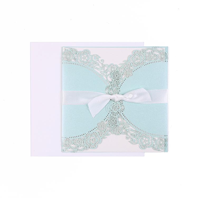 Cartão de casamento de saudação de flor de corte de Laser de duas partes de rosa de escova