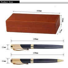 Newest article metal ball pen with bule gem classical well design pen set