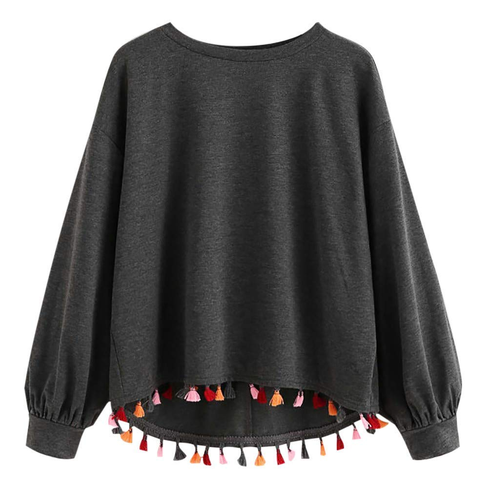 Womens Fashion National Style Casual Long Sleeve Tassel Sweatshirt O-Neck Pullover Loose Tops