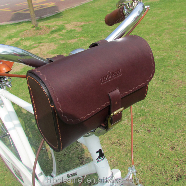 Premium Quality Vintage Real Leather Bicycle Cycling Saddle Bag handle bar Pouch leather bag