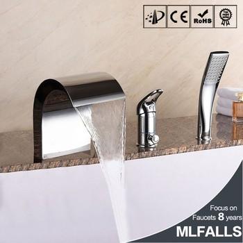 Waterfall Bathroom Bathtub Three Holes Chrome Retractable Hand ...