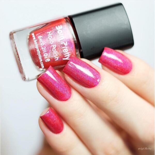 Good Quality 1 Box 6ml Newly Born Pretty Bright Shimmer Red Holo Nail Polish Nail Glitter