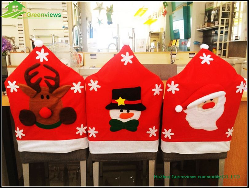 Fancy Snowmanreindeersanta Claus Design Felt Christmas Chair Cover For Xmas Season Gifts