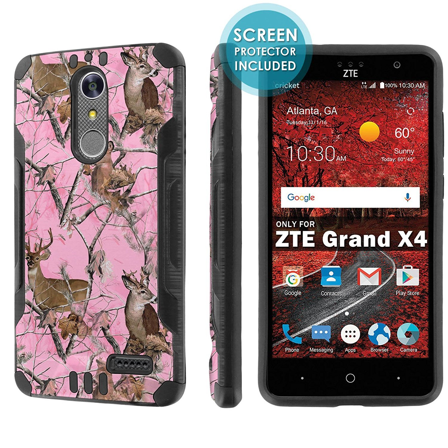 ZTE [Blade Spark] [ZTE Grand X 4] [NakedShield] [Black/Black] Dual Layer Protection [Screen Protector]- [Pink Deer Camouflage] for ZTE [Blade Spark] [ZTE Grand X4]