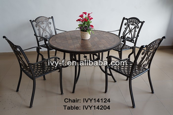 patio e prato metallo fusione di alluminio tondo grande tavolo e ... - Metallo Patio Tavolo E Sedie Rotondo