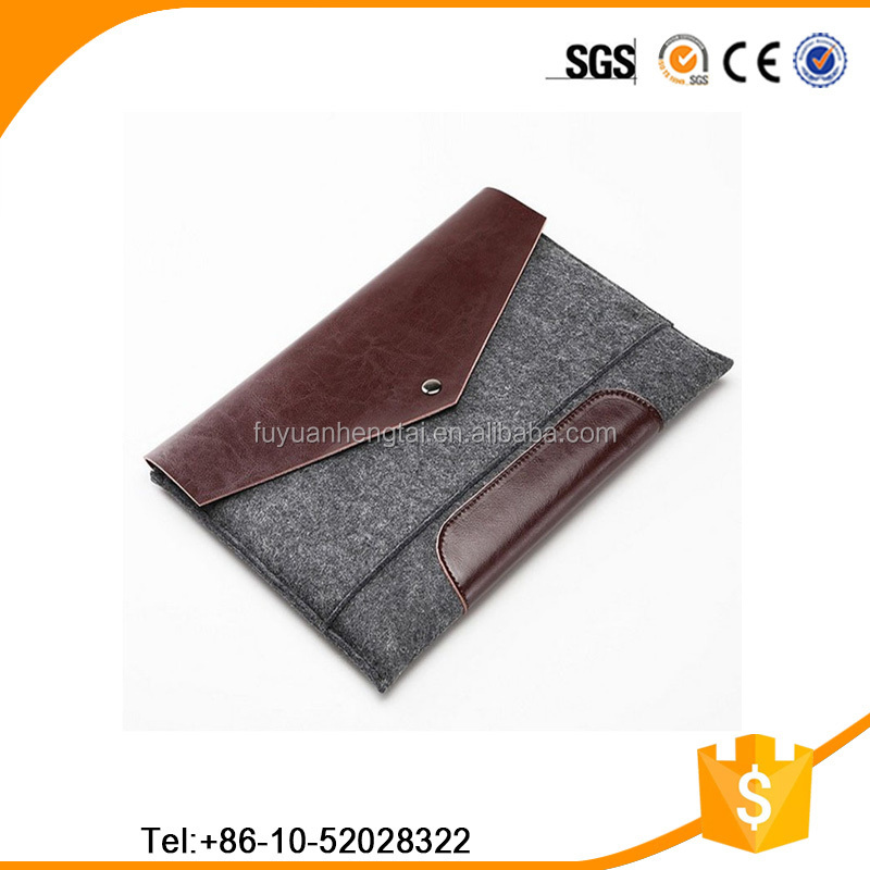 leather bottom bag magnetic button felt laptop sleeve customized design available