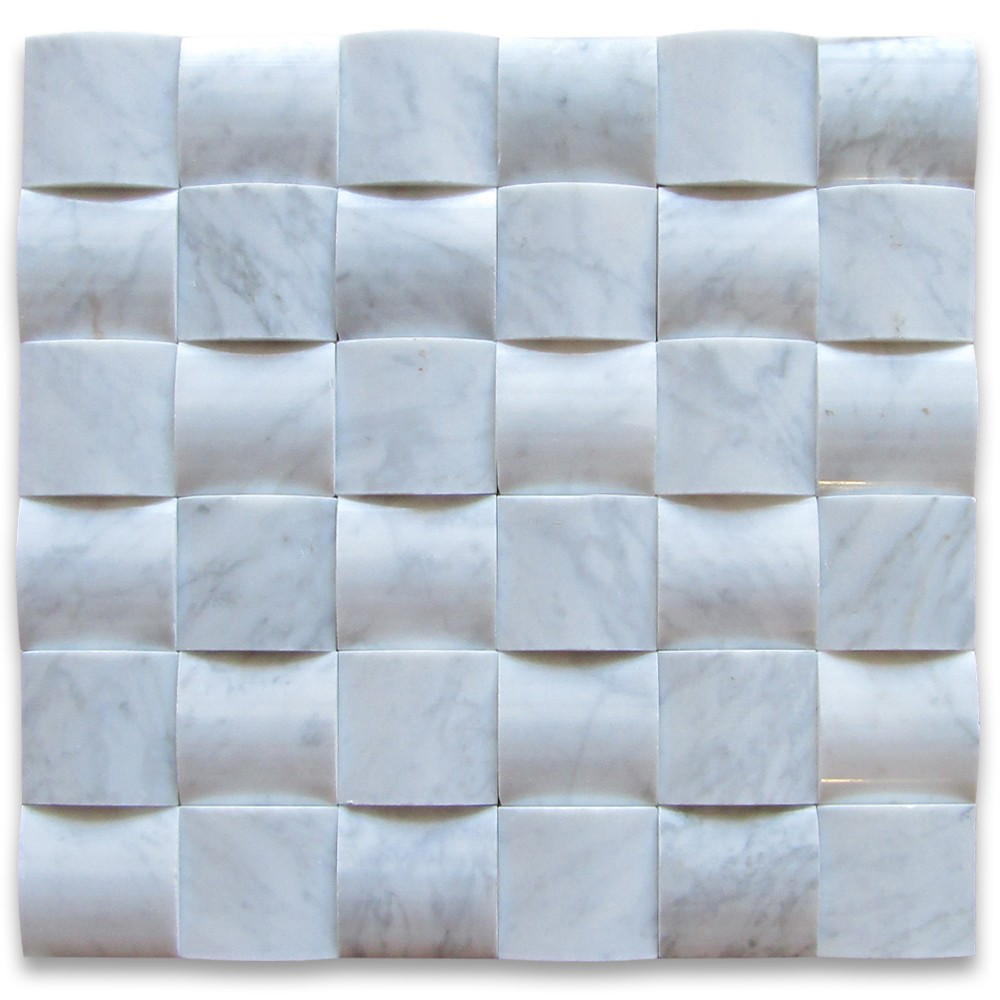 Fish-bone Shaped Carrara White Marble Mosaic Tiles For Kitchen Wall ...
