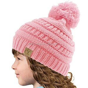 2017 Customized CC band slovenly knitted wool beanie hat with pom pom for baby