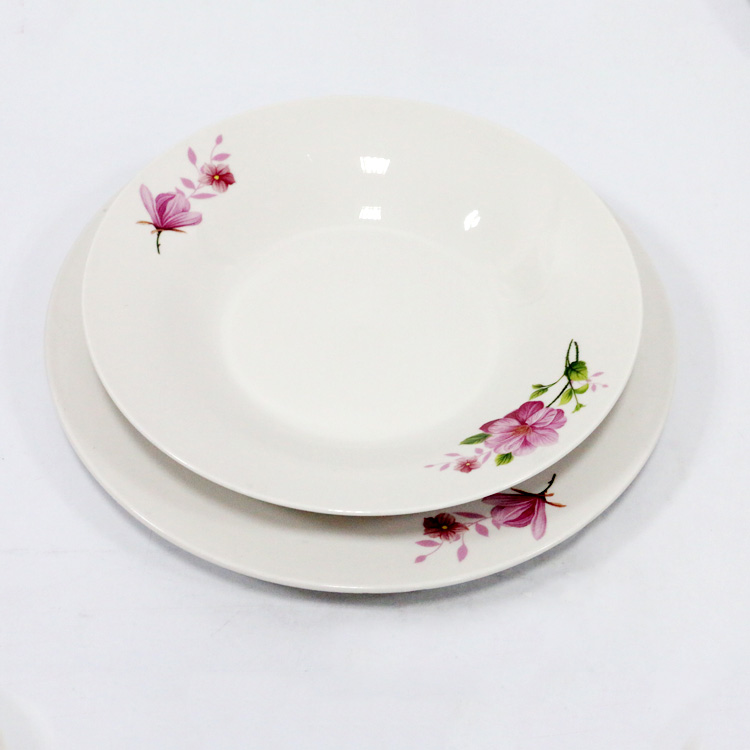 Wholesale cheap hotel restaurant printing round dinnerware set ceramic plate