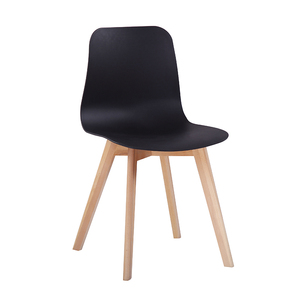 Latest design armless plastic dining chairs with beach wood legs