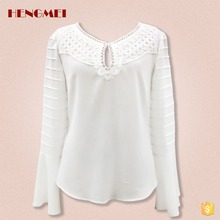 2017 ladies latest new design fashion chiffon girls top