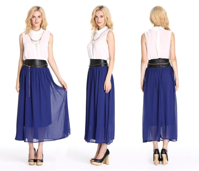 Falda larga de gasa falda elegante trajes para oficina damas faldas largas  de gasa para las c23502bbe377
