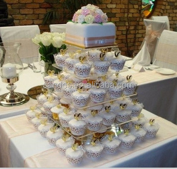 Attractive Design Clear 5 Tier Square Acrylic Cupcake Stands