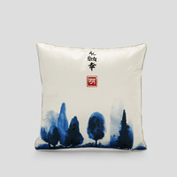 Chinese Style Low Moq Custom Pillow Case Faux Silk Fabric Classic Printing Pillow Cover Cushion Sofa Throw Home Decor Pillowcase