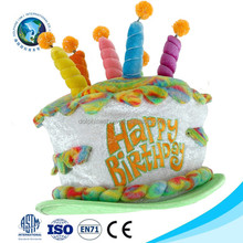 Beautiful birthday souvenirs giveaway soft kid toy plush birthday cake hat with candles fashion birthday gift
