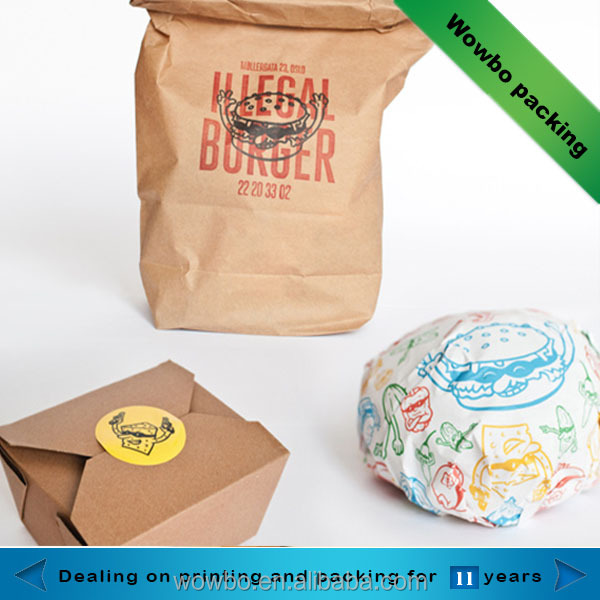 food standard kraft paper box for take out hamburger