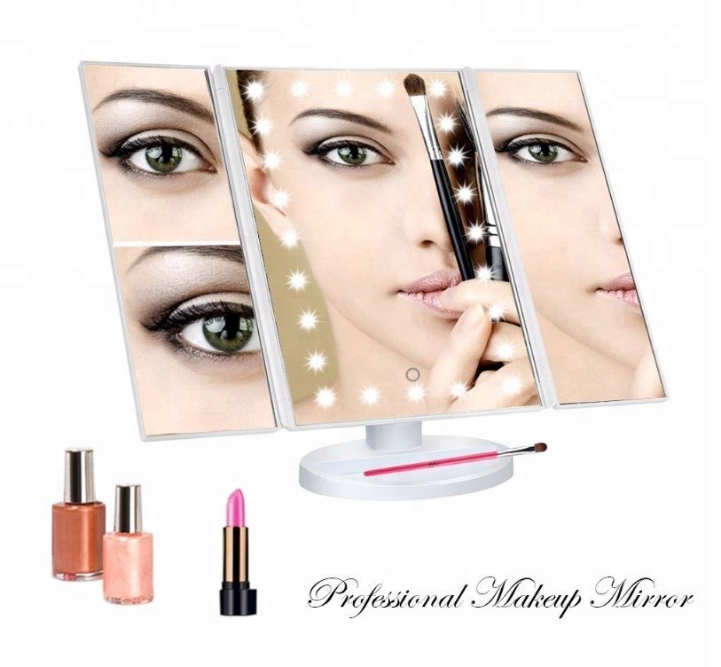 Mirrors Trend Mark 1 Pc Professional Vanity Mirror Folding Portable Make Up Mirror Foldable 8 Led Lights Lamps For Girls Lady Makeup Cosmetic Tools
