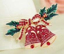 New Arrival Alloy Christmas Ring Bell Brooch For Gilr's Gift