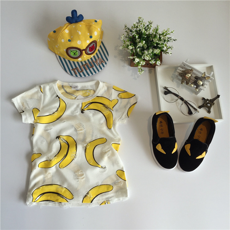 children t shirts summer banana holes tops kids clothes boys and girls fruit printing cotton fashion