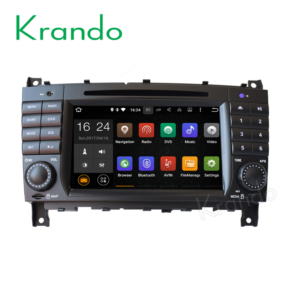 Krando Android 7.1 car dvd player gps multimedia for mercedes w203 c class 2004-2007 car radio navigation system KD-MB203
