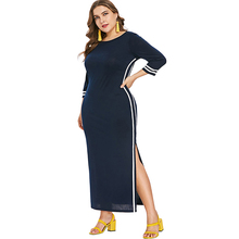 Hot Sale Panjang Lengan Nyaman Split <span class=keywords><strong>Bodycon</strong></span> Plus Ukuran Gaun Midi